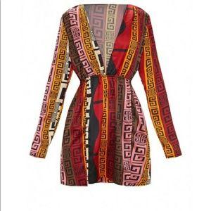 Pretty Little Thing Brown Aztec Print Dress